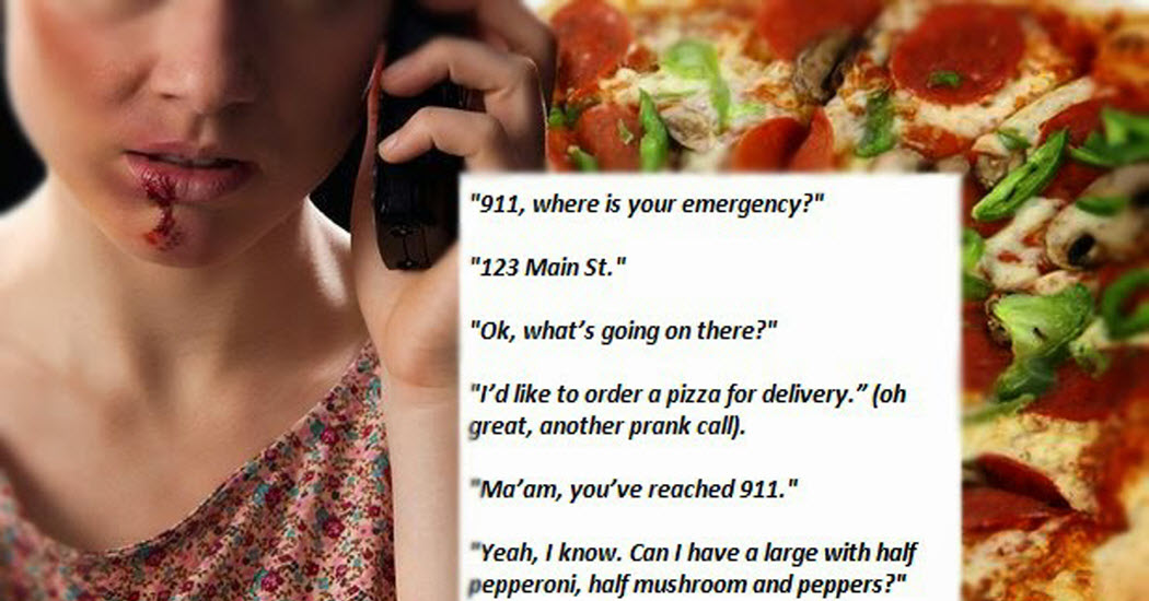 911 call woman orders pizza to save her from domestic abuse